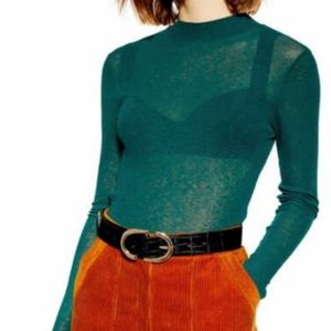 NWT green sheer mock neck top 10